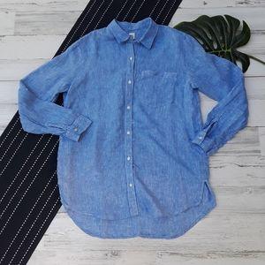 Gap| Linen Boyfriend Shirt Button Down Blue Small